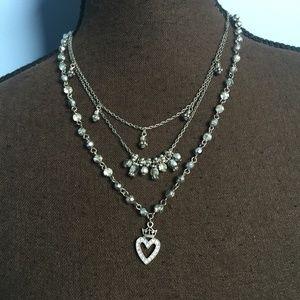 Cookie Lee Heart Crown Statement Necklace